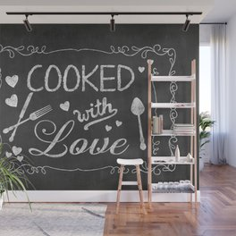 Cooked with Love Retro Chalkboard Sign Wall Mural