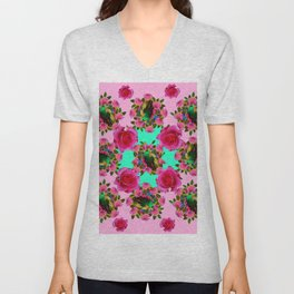 GREEN PEACOCK &  PINK ROSE GARDEN PINK PATTERN Unisex V-Neck