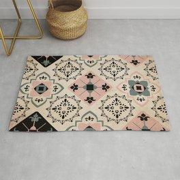 Mediterranean Inspired Tiles in Pink and Black Rug