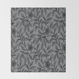 Vintage Lace Floral Sharkskin Throw Blanket