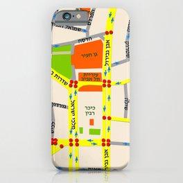 Tel Aviv map design - written in Hebrew iPhone Case