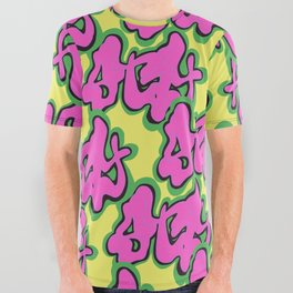 Stay Graffiti Pattern - Pop Pink All Over Graphic Tee