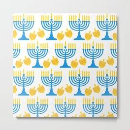 Hanukkah Bright Candles Menorah and Chic Dreidel Pattern Metal Print