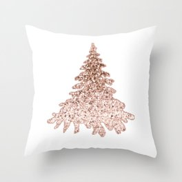Sparkling christmas tree rose gold ombre Throw Pillow