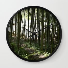Riverside Bamboo Path in The Kiso Mountains Wall Clock