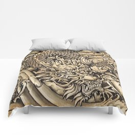 Japanese dragon and Koi fish Comforters