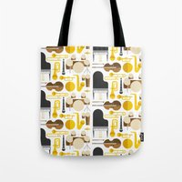 the mortal instruments Tote Bags featuring Jazz instruments by Ana Linea