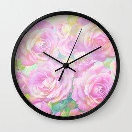 Lush, pink, painterly roses Wall Clock