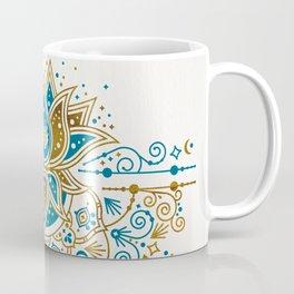 Sacred Lotus Mandala – Teal & Bronze Palette Coffee Mug