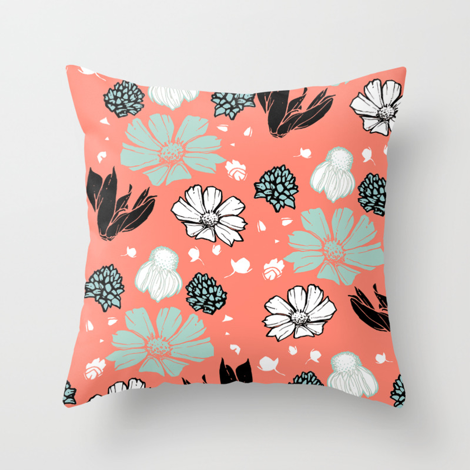 Picture of: Spring Floral Coral Throw Pillow By Scarletcrane Society6