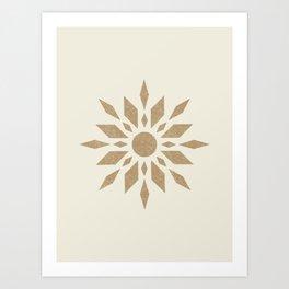 Sunburst Retro - Gold Art Print