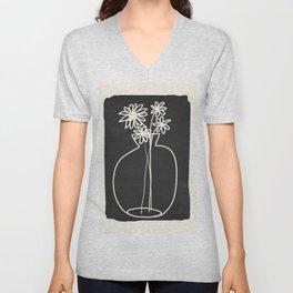 Abstract line art vase  Unisex V-Neck