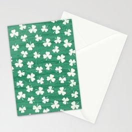 DANCING SHAMROCKS on green Stationery Cards