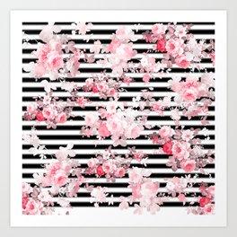 Vintage blush pink floral black white stripes Art Print
