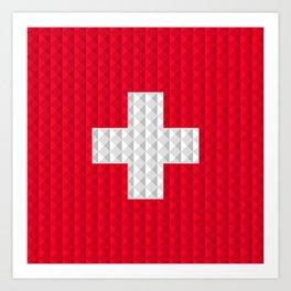 Swiss flag by Qixel Art Print