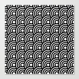 Black and White Geometric Japanese Circles Art Deco Print Canvas Print