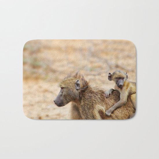 Cute monkey baby and mother Bath Mat