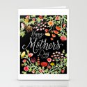 Happy Mother's Day // Ink Nib Lettering and Watercolor Florals on Elegant Black Background by zirkusdesign