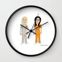 oitnb Wall Clocks featuring OrangeIsTheNewBlack: Piper & Alex (OITNB) by The Art of Not Dating