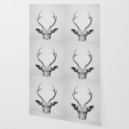 Deer - Black & White Wallpaper