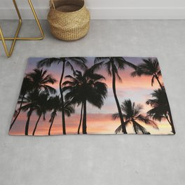 Tropical Palm Trees Sunset in Mexico Rug