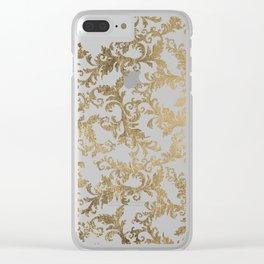Vintage faux gold elegant floral damask Clear iPhone Case