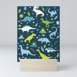 Kawaii Dinosaurs in Blue + Green Mini Art Print