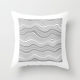 Black and White Waves Throw Pillow