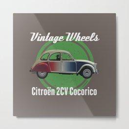 Vintage Wheels - Citroën 2CV Cocorico Metal Print