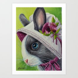 Bunnies in Bonnets No. 4 Art Print