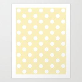 Polka Dots - White on Blond Yellow Art Print