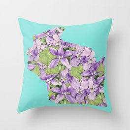 Wisconsin in Flowers Throw Pillow