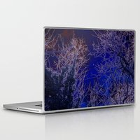 psychadelic Laptop & iPad Skins featuring Psychadelic trees frame the moon by Cheryl - DevilBear Photography