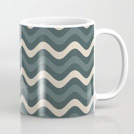 Juniper Berry Green & Alpaca Wool Cream Wavy Horizontal Stripes on Night Watch Green Coffee Mug