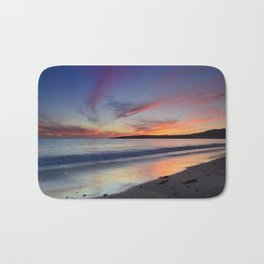 """Bolonia beach at sunset"" Bath Mat"