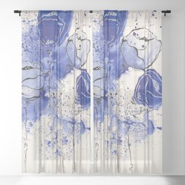 Blue and White Splotch Flowers Sheer Curtain
