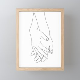 Holding hands illustration - Elana White Framed Mini Art Print