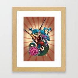 Samurai and Dragon Framed Art Print
