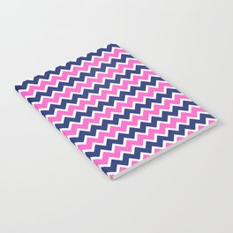Hot Pink and Navy Blue Chevron Notebook
