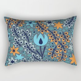 Azure Blue Woodland Floral Botanical Life Featuring Orange And White Flowers Rectangular Pillow
