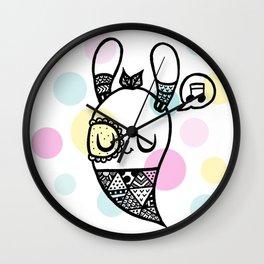 Happy Bunny and Dots Wall Clock