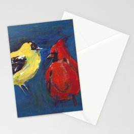 Shadow Bird (Cardinal, Goldfinches, and ?) Stationery Cards