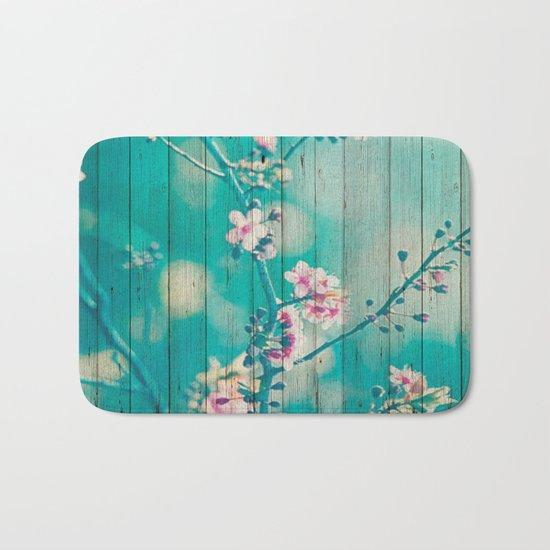 Sweet Flowers on Wood 01 Bath Mat
