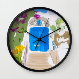 Beautiful front door with flowers of a house in Ischia island , italy Wall Clock