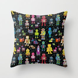 Robots in Space - on black Throw Pillow