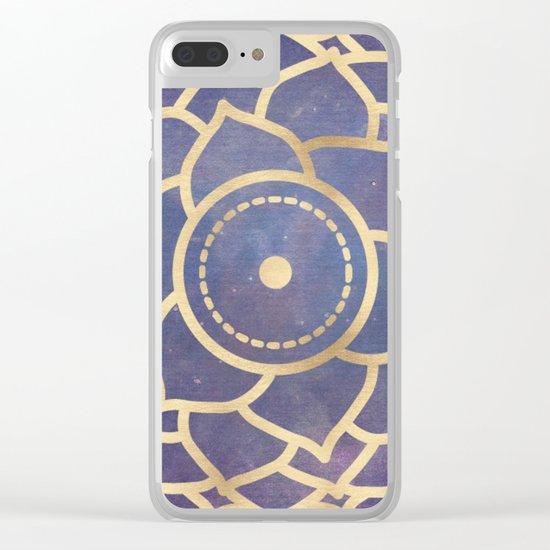 Mandala Chakra Copper and Purple Crown Chakra Clear iPhone Case
