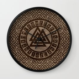Valknut Symbol and Runes on Celtic Pattern on Wood Wall Clock