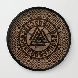Valknut Symbol and Runes on Celtic Pattern on Wood Wall Clock