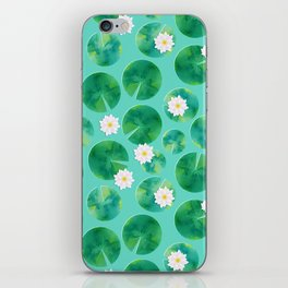 Lily Pads & White Water Lily Flowers iPhone Skin