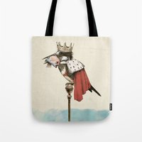 king Tote Bags featuring King Fisher by Eric Fan